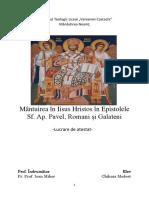Mântuirea în Iisus Hristos în Epistolele Sf. Ap. Pavel, Romani și Galateni