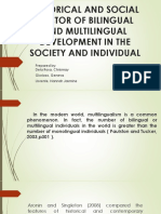 SOCIAL AND HISTORICAL FACTORS OF BILINGUAL AND MULTILINGUAL DEVELOPMENT IN THE SOCIETY AND INDIVIDUAL