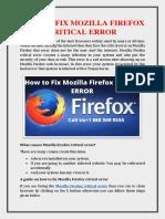 How to Fix Mozilla Firefox Critical Error