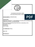 SEMINARIO TEMÁTICO - LA TRANSMISIÓN CULTURAL EN LOS MUSEOS DE CIENCIAS SOCIALES (CALVO) - 1C 2019