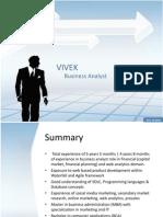 Vivek Profile Business Analyst