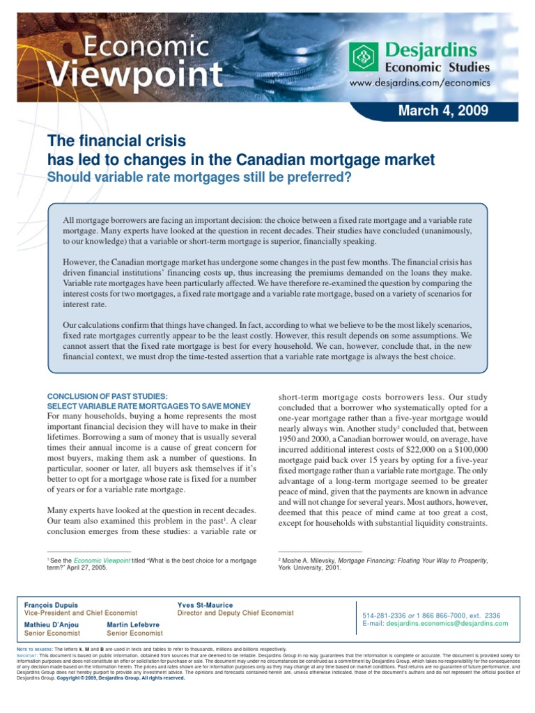 canadian mortgage market floating interest rate mortgage loan