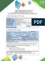 Guía de actividades y rúbrica de evaluación - Fase 1 - Contextualización de la Evaluación Impacto Ambiental