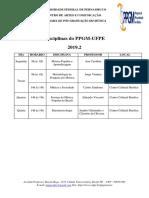 Oferta de Disciplinas  2019-2