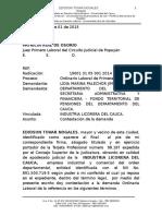 CONTESTACION DEMANDA LABORAL LIDIA MARINA PALECHOR JIMENEZ VS ILC POR RELIQUIDACION DE PENSION