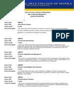 Course Description - MARKETING MANAGEMENT