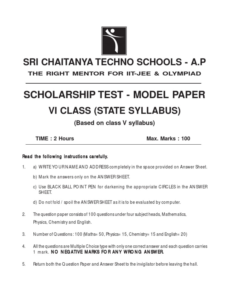 6th Class State Syllabus Scholarship Test Paper | Rectangle | Carbon ...