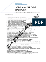 State Bank of Pakistan SBP OG-2 Solved Past Paper