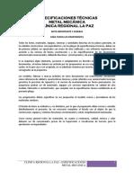 ESPECIFICACIONES TECNICAS METAL MECANICA AM-080