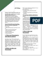 Paracetamol Tablets PIL Taj Pharmaceuticals