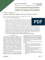 Role of Local Non-Governmental Organizations (NGOs) in Community Development in Zamfara State, Nigeria
