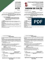 ORDEM DE CULTO 20-01-2020 - QUARTA-FEIRA- Bem-aventurados os que São Perseguidos por Causa da Justiça - Mateus 5.10 (1)