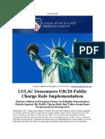 LULAC Denounces USCIS Public Charge Rule Implementation