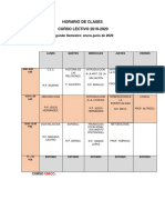 HORARIO DE CLASE. Enero-junio 2020.