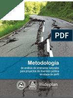 Metodología de análisis de amenazas naturales para proyectos de inversión en etapa de perfil