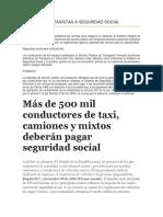 AFILIACIÓN DE TAXISTAS A SEGURIDAD SOCIAL