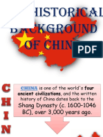 THE HISTORICAL BACKGROUND OF CHINA