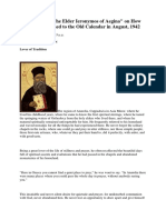 How the Elder Ieronimos of Aegina Returned to the Old Calendar in August 1942