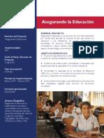 Fact Sheet - Español - con resumen de actividades Asegurando la Educación_16 December 2019 (1)