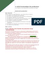 CHAPITRE II Le calcul économique du producteur