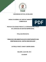 Creacion e Implementacion de Un Restaurante Semi-Vegetariano en El Canton Simon Bolivar