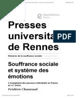 Histoires de la souffrance sociale - Souffrance sociale et système des émotions - Presses universitaires de Rennes