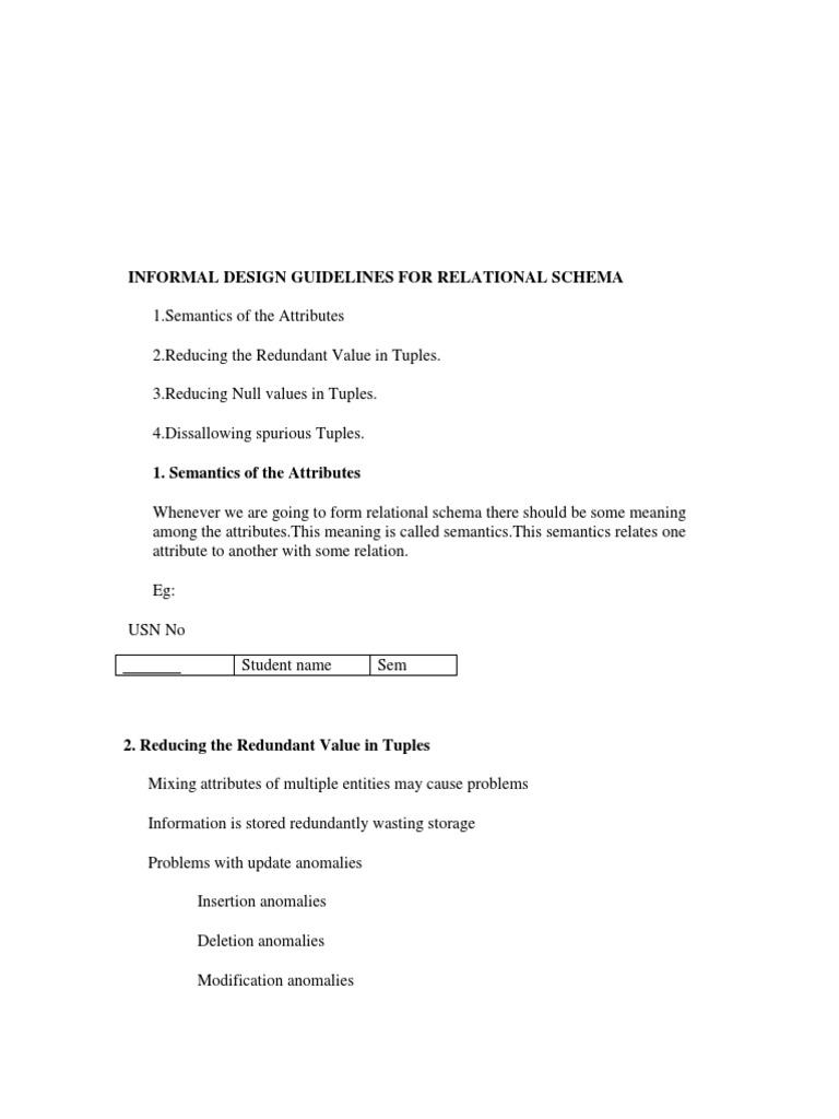 Informal Design Guidelines For Relational Schema 1 Pdf Relational Database Information Science