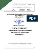 P-T-OP-MTQ-LM-018 Determinacion del consumo de acido en muestras de minerales