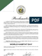 World Habitat Day Proclamation
