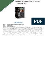ESTUCHE OBRAS COMPLETAS DE ALBERT CAMUS - ALIANZA EDITORIAL, S.A.