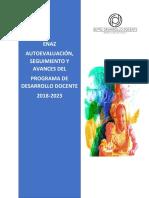 ENAZ AUTOEVALUACIÓN, SEGUIMIENTO Y AVANCES DEL  PROGRAMA DE DESARROLLO DOCENTE