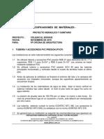ESPECIFICACION DE MATERIALES
