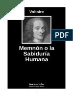 Voltaire - Memnon o la Sabiduria Humana