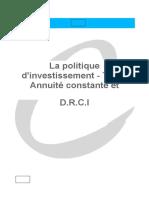 25_La politique d'investissement - T.R.I - Annuité constante et D.R.C.I