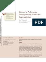 2009. Lena Wängnerud. Women in Parliaments. Descriptive and Substantive Reprsentation