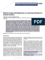 Effects of Age and Experience on Learning Activities for Animal Farmers