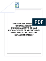 -Ordenanza sobre la Organización y Funcionamiento de las Asociaciones de Vecinos del Municipio El Hatillo del Estado Miranda