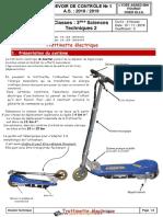 Devoir de Contrôle N°1 Avec correction - Génie mécanique -Trottinette electrique - 3ème Technique (2018-2019) Mr JEMAI Lotfi (1) (1)