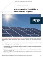 REPDO receives the bidder's proposal for 1.4GW Solar PV Projects