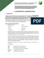 MEMORIA DESCRIPTIVA ARQUITECTURA I.E.PLATANAL