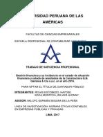 GESTIÓN FINANCIERA Y SU INCIDENCIA EN EL ESTADO DE SITUACIÓN FINANCIERA Y ESTADO DE RESULTADOS DE LA CONSTRUCTORA G.N. GAMBOA & CIA S.A.C. EN EL AÑO 2016.