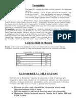Assignment of Eco Sys,Glomerular,Urine Plasma Assgnment