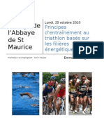 Principes d'Entrainement Au Triathlon Bases Sur Les Filieres Energetiques