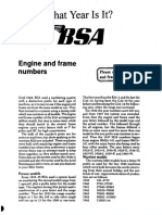 BSA Engine and Frame Numbers
