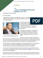 ConJur - Novo não pode criar comissão prévia para seleção de candidatos