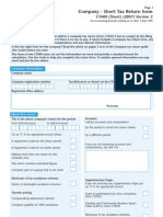 UK Company - Short Tax Return Form - CT600