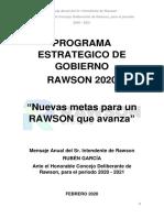 Discurso de Apertura de sesiones en Rawson