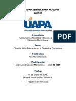 Tarea 3 Filosofía de la Educación en la República Dominicana
