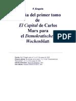 ENGELS, Reseña del I tomo del Capital
