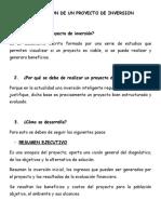 ELABORACION DE UN PROYECTO DE INVERSION